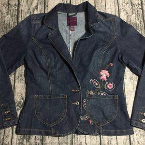 Gloria Vanderbilt Jean Jacket Floral Embroidery
